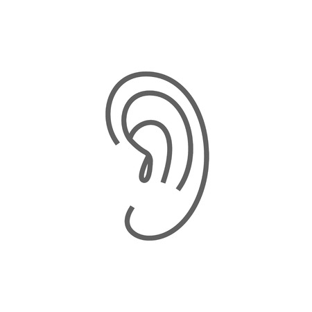 auditory: Human ear thick line icon with pointed corners and edges for web, mobile and infographics. Vector isolated icon.