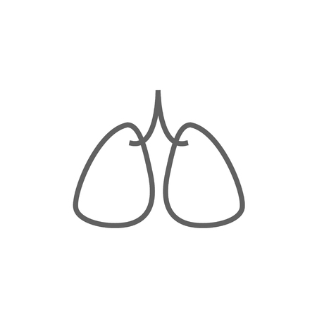 lung transplant: Lungs thick line icon with pointed corners and edges for web, mobile and infographics. Vector isolated icon.