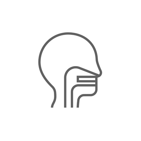 ear nose throat: Human head with ear, nose, throat system thick line icon with pointed corners and edges for web, mobile and infographics. Vector isolated icon.