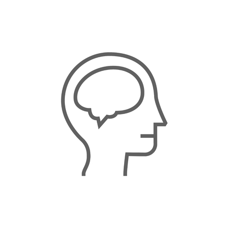 Human head with brain thick line icon with pointed corners and edges for web, mobile and infographics. Vector isolated icon.