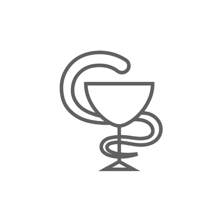 snake and a bowl: A snake and a bowl thick line icon with pointed corners and edges for web, mobile and infographics. Vector isolated icon. Illustration