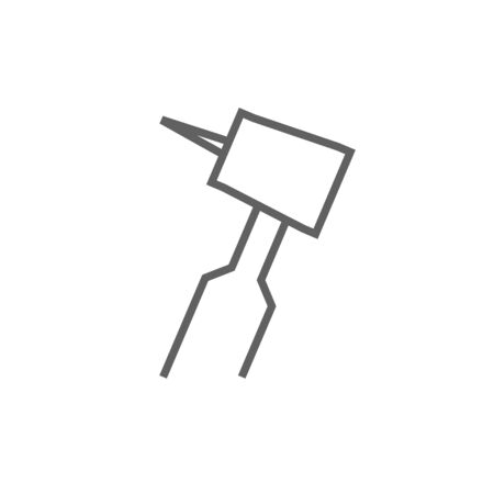 hygienist: Dental drill thick line icon with pointed corners and edges for web, mobile and infographics. Vector isolated icon. Illustration