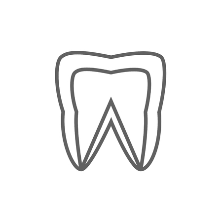 Molar tooth line icon for web, mobile and infographics. Vector dark grey icon isolated on white background.