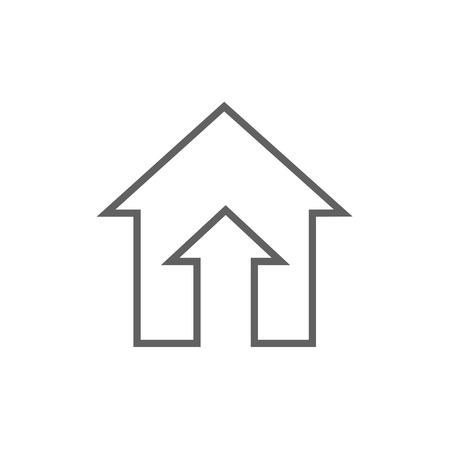 thick growth: Growth of real estate market thick line icon with pointed corners and edges for web, mobile and infographics. Vector isolated icon. Illustration
