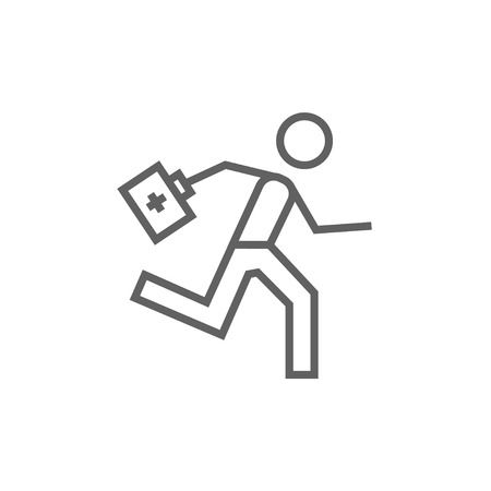 Paramedic running with first aid kit thick line icon with pointed corners and edges for web, mobile and infographics. Vector isolated icon.