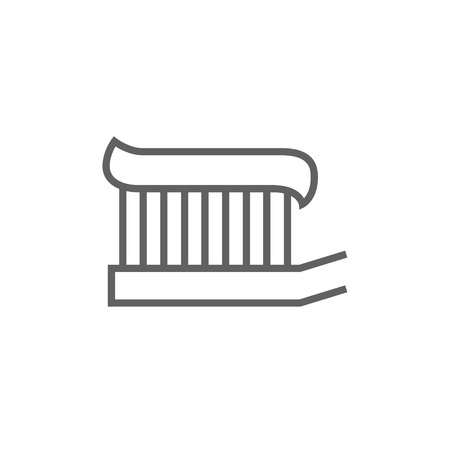 Toothbrush with toothpaste thick line icon with pointed corners and edges for web, mobile and infographics. Vector isolated icon.