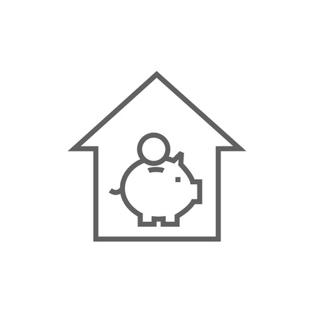 House savings thick line icon with pointed corners and edges for web, mobile and infographics. Vector isolated icon. Illustration