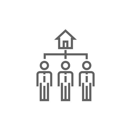 possession: Three real estate agents thick line icon with pointed corners and edges for web, mobile and infographics. Vector isolated icon.