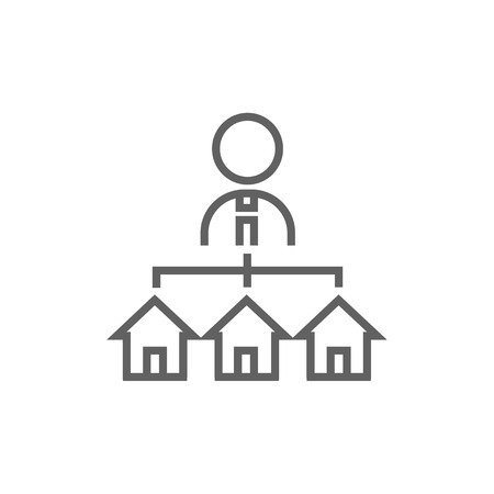 renter: Real estate agent with three houses thick line icon with pointed corners and edges for web, mobile and infographics. Vector isolated icon.
