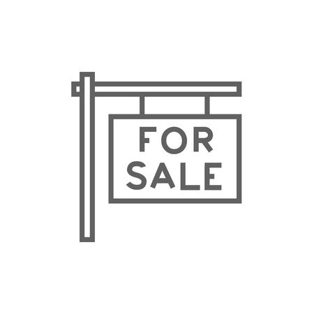 Te koop plakkaat dikke lijn icoon met puntige hoeken en randen voor het web, mobiel en infographics. Vector geïsoleerd pictogram. Stock Illustratie