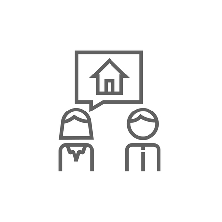 Couple dreaming about the house thick line icon with pointed corners and edges for web, mobile and infographics. Vector isolated icon.
