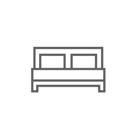 Double bed thick line icon with pointed corners and edges for web, mobile and infographics. Vector isolated icon. Illustration