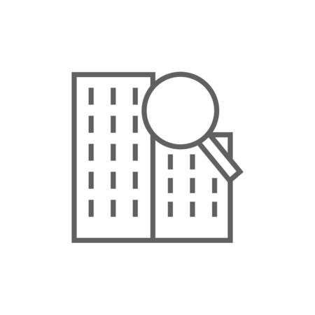 Condominium and magnifying glass thick line icon with pointed corners and edges for web, mobile and infographics. Vector isolated icon.