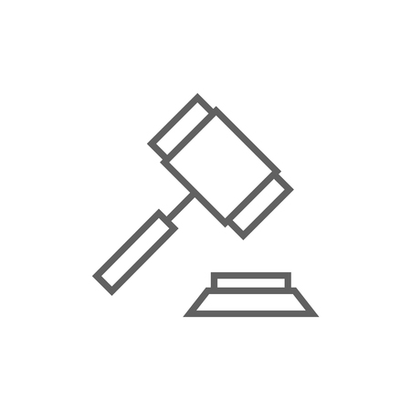 auctioneer: Auction gavel thick line icon with pointed corners and edges for web, mobile and infographics. Vector isolated icon. Illustration