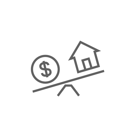 House and dollar symbol on scales thick line icon with pointed corners and edges for web, mobile and infographics. Vector isolated icon.