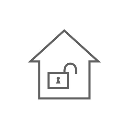 safeness: House with an open lock thick line icon with pointed corners and edges for web, mobile and infographics. Vector isolated icon.