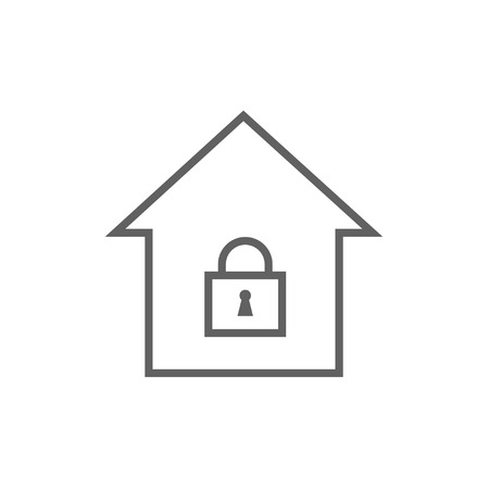 House with a closed lock thick line icon with pointed corners and edges for web, mobile and infographics. Vector isolated icon.