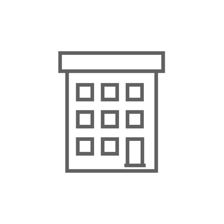 Condominium building thick line icon with pointed corners and edges for web, mobile and infographics. Vector isolated icon.