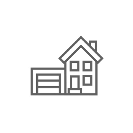 automatic doors: House with garage thick line icon with pointed corners and edges for web, mobile and infographics. Vector isolated icon. Illustration