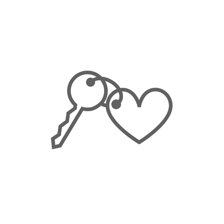private access: Trinket for the keys as a heart thick line icon with pointed corners and edges for web, mobile and infographics. Vector isolated icon.