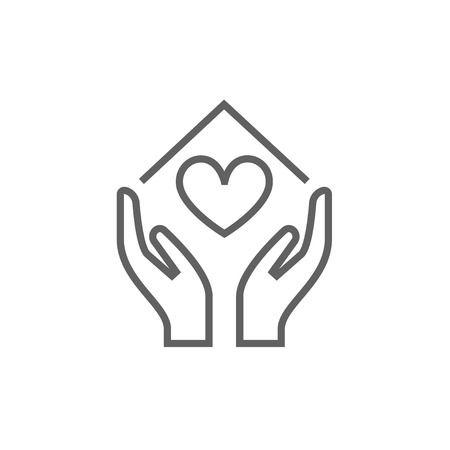 Hands holding house symbol with heart shape line icon for web, mobile and infographics. Vector dark grey icon isolated on white background.