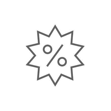 sell out: Discount tag thick line icon with pointed corners and edges for web, mobile and infographics. Vector isolated icon.
