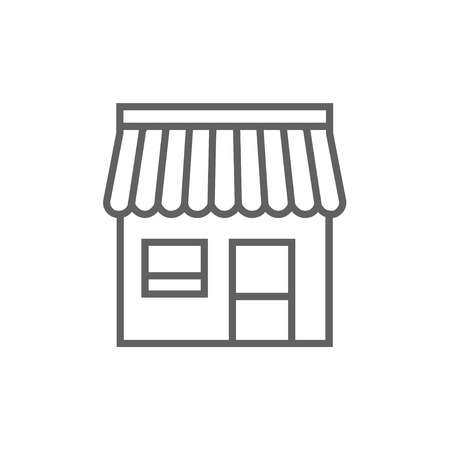 awnings: Shop thick line icon with pointed corners and edges for web, mobile and infographics. Vector isolated icon. Illustration