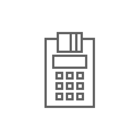 Cash register thick line icon with pointed corners and edges for web, mobile and infographics. Vector isolated icon.