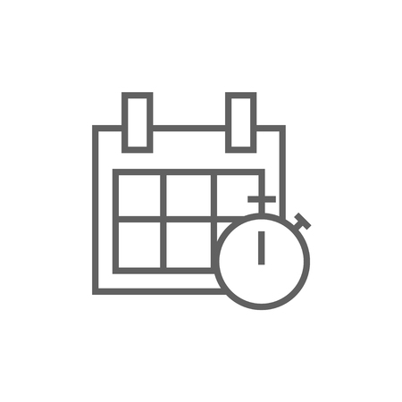 calendar page: Calendar and stopwatch thick line icon with pointed corners and edges for web, mobile and infographics. Vector isolated icon.