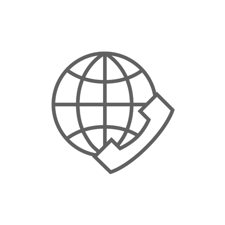 A globe with a headset line icon for web, mobile and infographics. Vector dark grey icon isolated on white background.