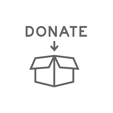 Open donation box thick line icon with pointed corners and edges for web, mobile and infographics. Vector isolated icon.