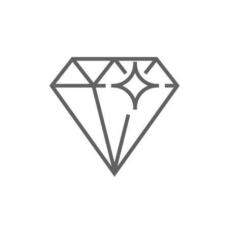 Diamond line icon for web, mobile and infographics. Vector dark grey icon isolated on white background.