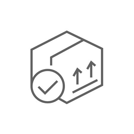 Caja de envase de cartón con dos flechas hacia arriba icono línea gruesa con esquinas puntiagudas y bordes para web, móvil y la infografía. aislado vector icono. Foto de archivo - 53757131