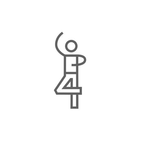 male figure: Male figure skater thick line icon with pointed corners and edges for web, mobile and infographics. Vector isolated icon.