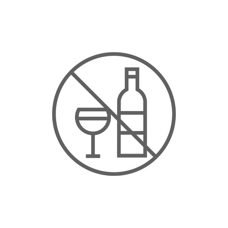 strikethrough: No alcohol sign thick line icon with pointed corners and edges for web, mobile and infographics. Vector isolated icon.