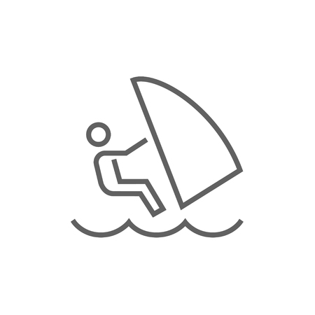 wind surfing: Wind surfing thick line icon with pointed corners and edges for web, mobile and infographics. Vector isolated icon.