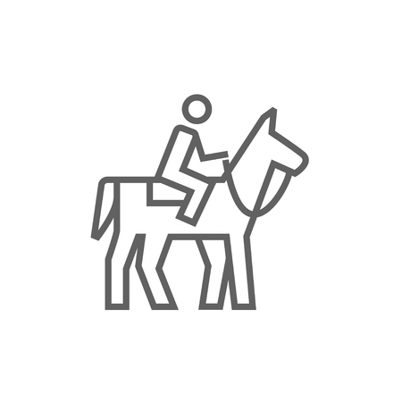 stirrup: Horse riding line icon for web, mobile and infographics. Vector dark grey icon isolated on white background. Illustration