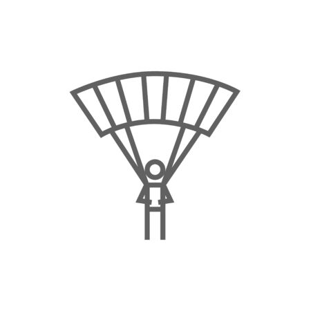 airplay: Skydiving line icon for web, mobile and infographics. Vector dark grey icon isolated on white background. Illustration