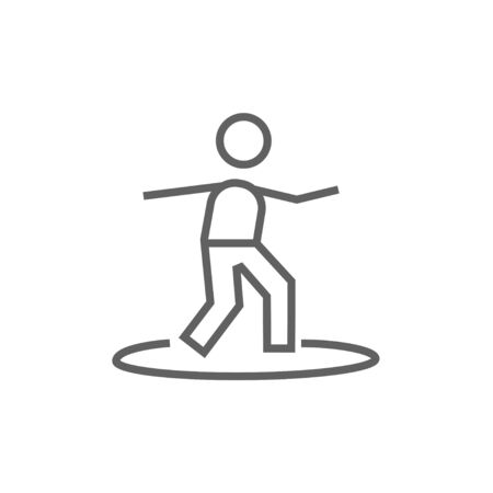 male surfer: Male surfer riding on surfboard thick line icon with pointed corners and edges for web, mobile and infographics. Vector isolated icon.