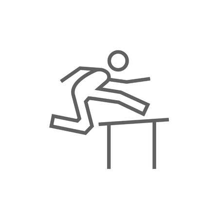 Man running over barrier thick line icon with pointed corners and edges for web, mobile and infographics. Vector isolated icon.
