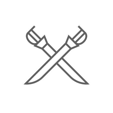 longsword: Crossed saber line icon for web, mobile and infographics. Vector dark grey icon isolated on white background.