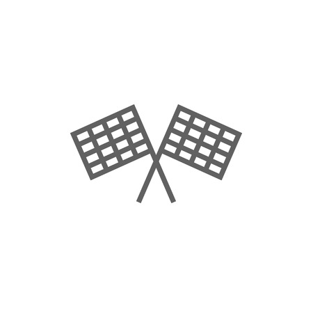 two crossed checkered flags: Two checkered flag line icon for web, mobile and infographics. Vector dark grey icon isolated on white background.