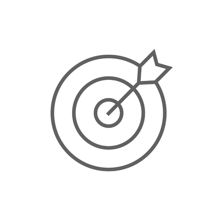 Target board and arrow line icon for web, mobile and infographics. Vector dark grey icon isolated on white background.