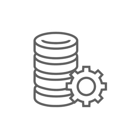 storage device: Server with gear line icon for web, mobile and infographics. Vector dark grey icon isolated on white background.