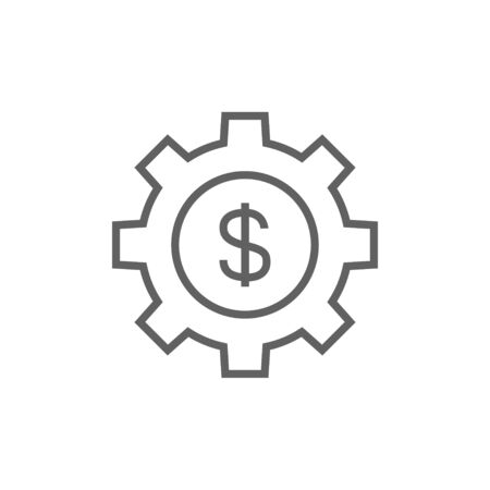 gear icon: Gear with a dollar sign line icon for web, mobile and infographics. Vector dark grey icon isolated on white background. Illustration