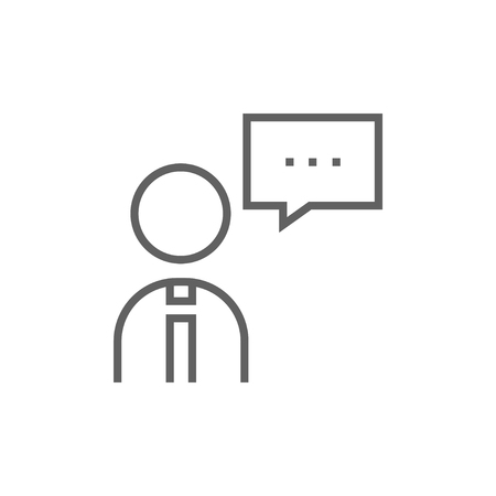 Man with speech square thick line icon with pointed corners and edges for web, mobile and infographics. Vector isolated icon.