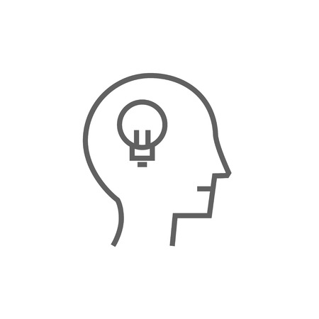 invent clever: Human head with light bulb thick line icon with pointed corners and edges for web, mobile and infographics. Vector isolated icon.
