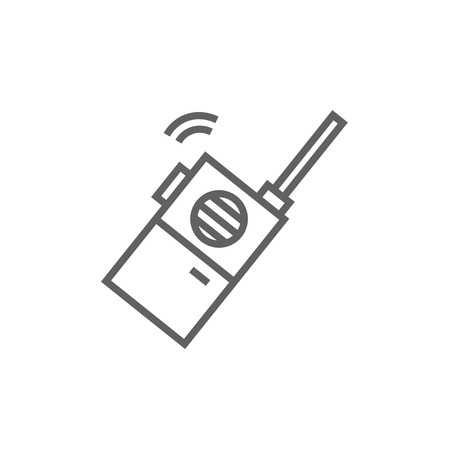 portable radio: Portable radio set line icon for web, mobile and infographics. Vector dark grey icon isolated on white background. Illustration