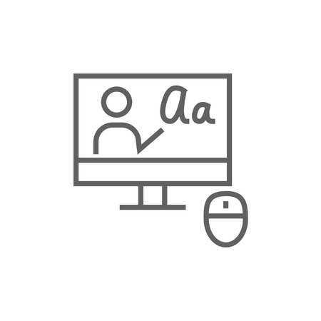 teacher training: Computer monitor with online tutorial thick line icon with pointed corners and edges for web, mobile and infographics. Vector isolated icon.