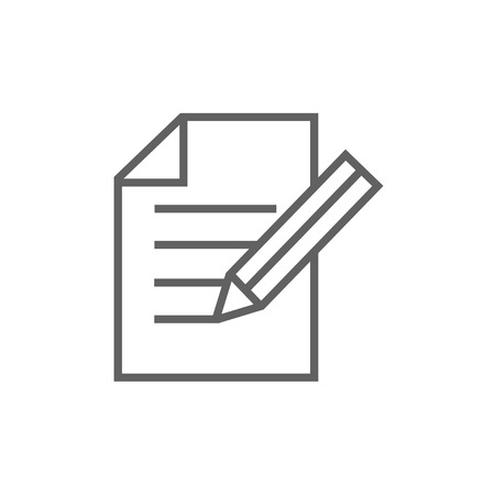 taking notes: Sheet and pencil thick line icon with pointed corners and edges for web, mobile and infographics. Vector isolated icon.